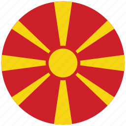 flag of macedonia, macedonia, macedonia's circled flag, macedonia's flag icon