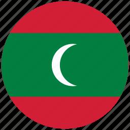 flag of maldives, maldives, maldives's circled flag, maldives's flag icon
