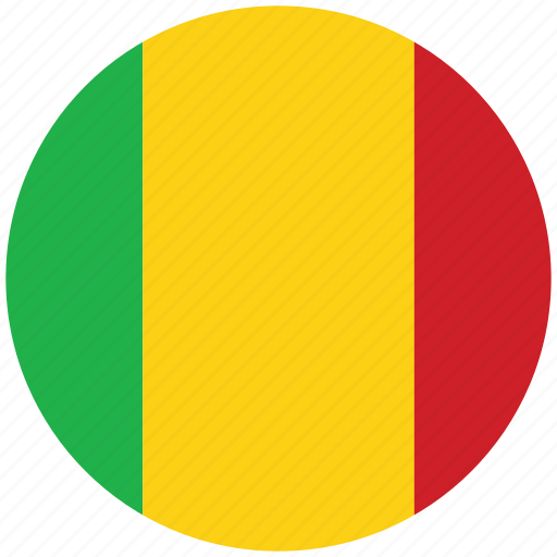 flag of mali, mali, mali's circled flag, mali's flag icon