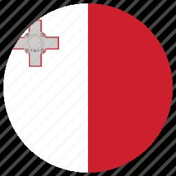 flag of malta, malta, malta's circled flag, malta's flag icon