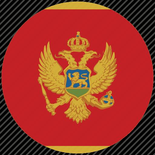 flag of montenegro, montenegro, montenegro's circled flag, montenegro's flag icon