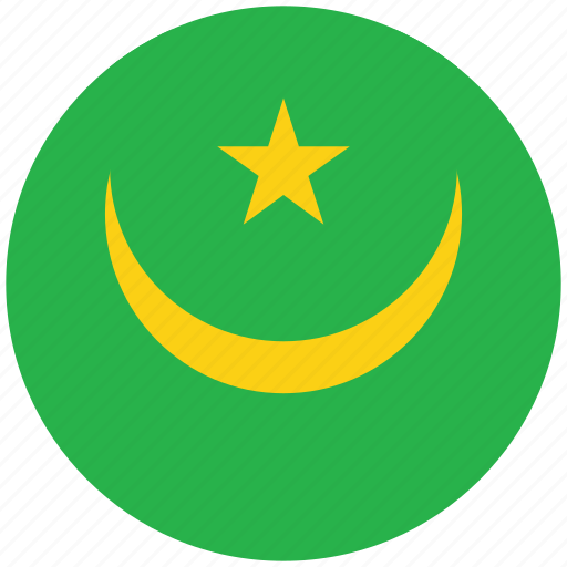 flag of mauritania, mauritania, mauritania's circled flag, mauritania's flag icon
