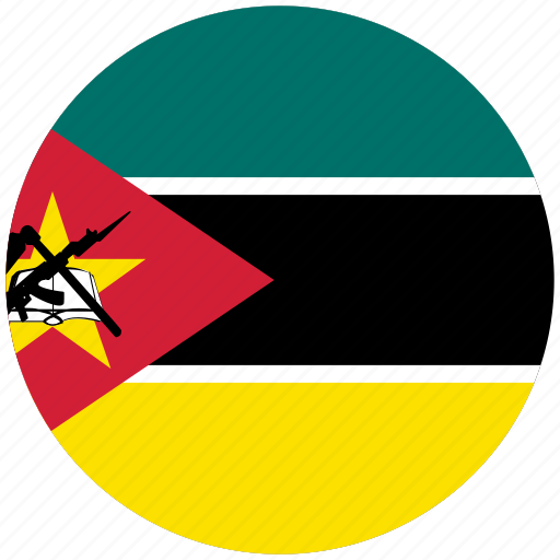 flag of mozambique, mozambique, mozambique's circled flag, mozambique's flag icon