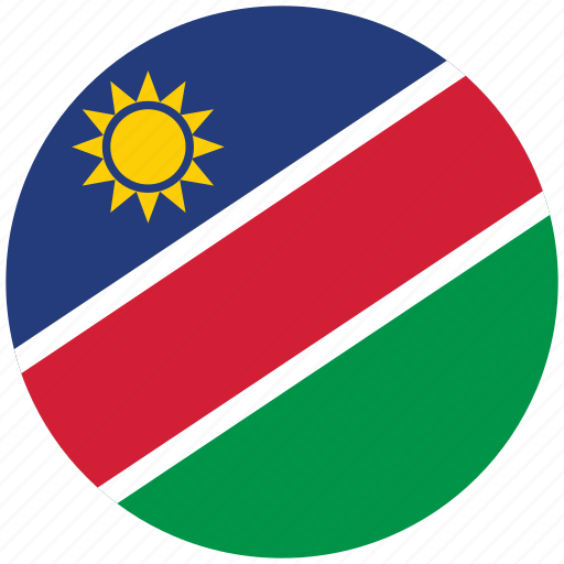 flag of namibia, namibia, namibia's circled flag, namibia's flag icon