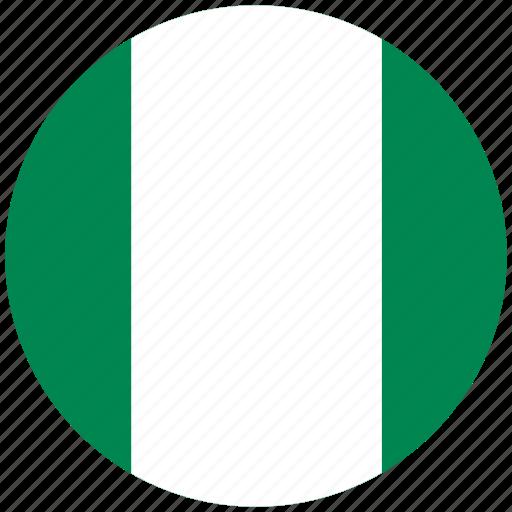 flag of nigeria, nigeria, nigeria's circled flag, nigeria's flag icon