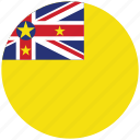 flag of niue, niue, niue's circled flag, niue's flag icon