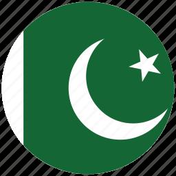 flag of pakistan, pakistan, pakistan's circled flag, pakistan's flag icon