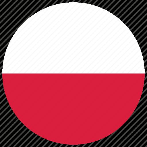 flag of poland, poland, poland's circled flag, poland's flag icon