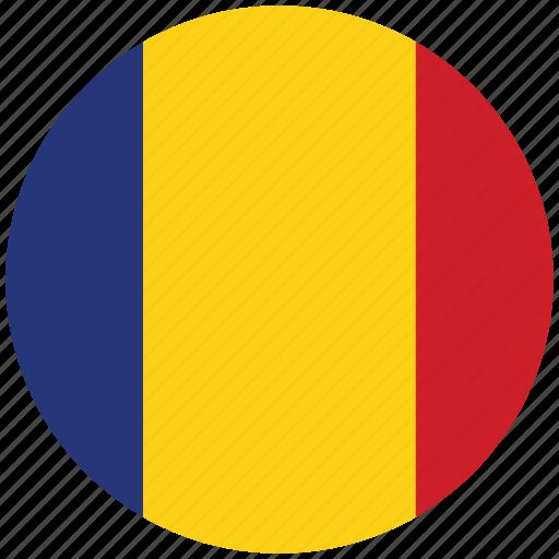 flag of romania, romania, romania's circled flag, romania's flag icon