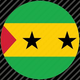 flag of sao tome, sao tome, sao tome's flag, sau tome's circled flag icon