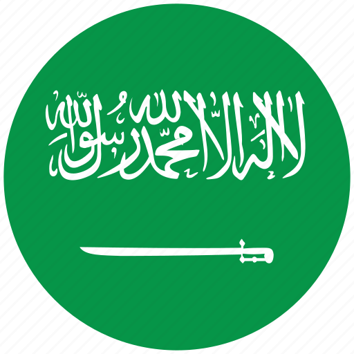 flag of saudi arabia, saudi arabia, saudi arabia's circled flag, saudi arabia's flag icon