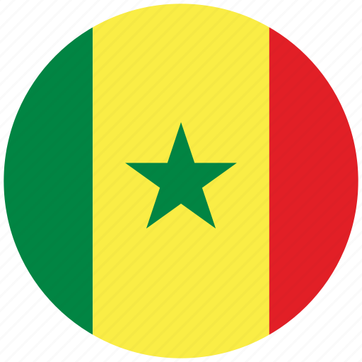 flag of senegal, senegal, senegal's circled flag, senegal's flag icon