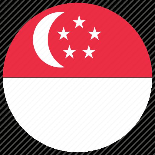 flag of singapore, singapore, singapore's circled flag, singapore's flag icon