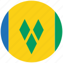 flag of st vincent, st vincent, st vincent's circled flag, st vincent's flag icon