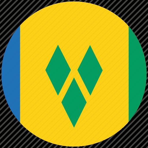 flag of st vincent, st vincent, st vincent's circled flag, st vincent's flag icon