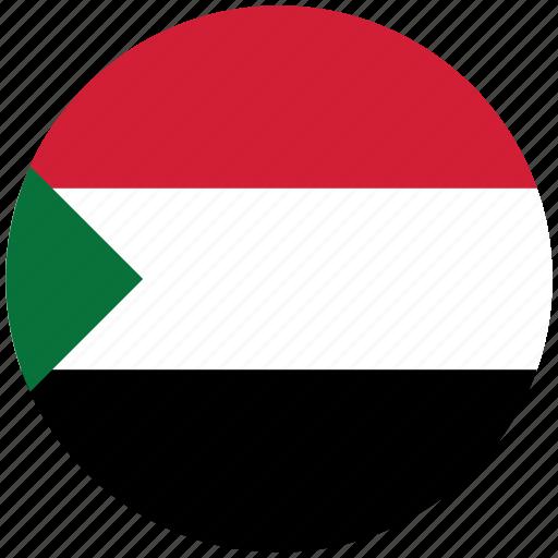 flag of sudan, sudan, sudan's circled flag, sudan's flag icon