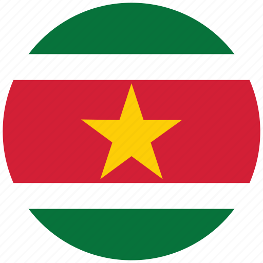 flag of suriname, suriname, suriname's circled flag, suriname's flag icon