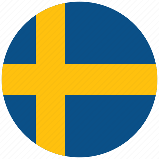 flag of sweden, sweden, sweden's circled flag, sweden's flag icon