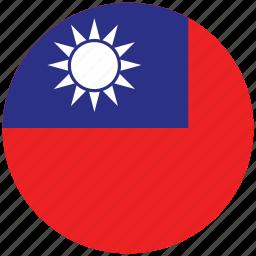 flag of taiwan, taiwan, taiwan's circled flag, taiwan's flag icon