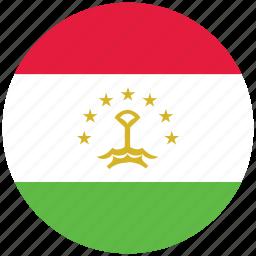 flag of tajikistan, tajikistan, tajikistan's circled flag, tajikistan's flag icon