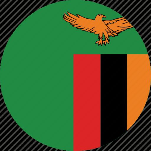 flag of zambia, zambia, zambia's circled flag, zambia's flag icon