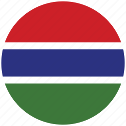 flag of the gambia, the gambia, the gambia's circled flag, the gambia's flag icon