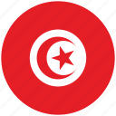 flag of tunisia, tunisia, tunisia's circled flag, tunisia's flag icon