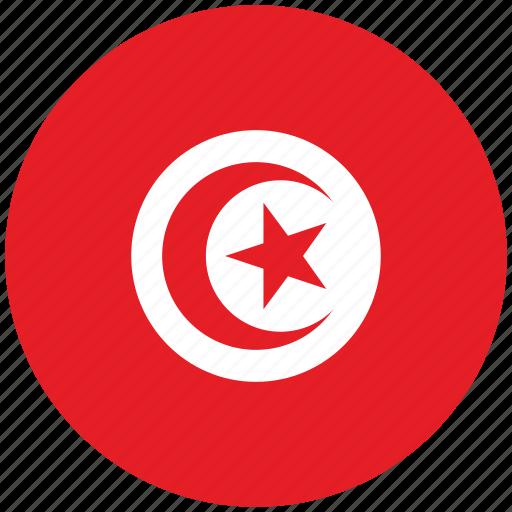flag of tunisia, tunisia, tunisia's circled flag, tunisia's flag icon
