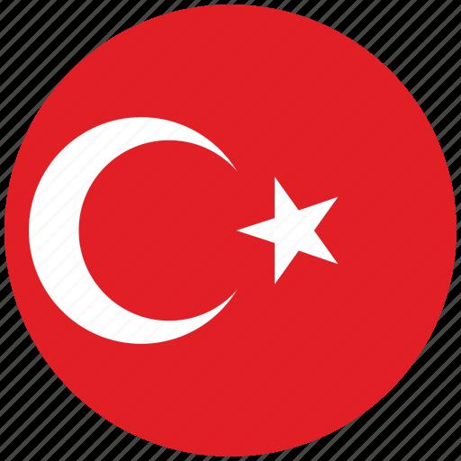 flag of turkey, turkey, turkey's circled flag, turkey's flag icon