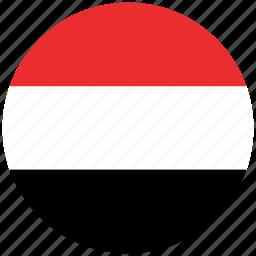 flag of yemen, yemen, yemen's circled flag, yemen's flag icon