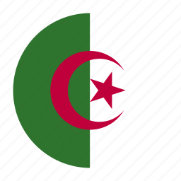africa, algeria, algerian, arabic, country, dza, flag icon
