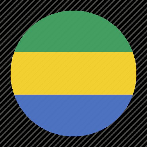 africa, african, cfa, country, flag, gab, gabon icon