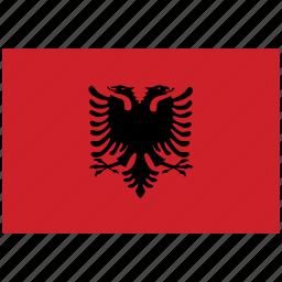 albania, albania's flag, albania's square flag, flag of albania icon
