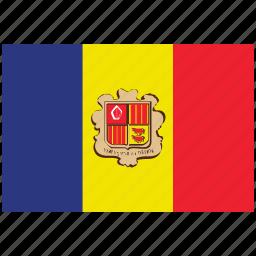 andorra, andorra's flag, andorra's square flag, flag of andoora icon
