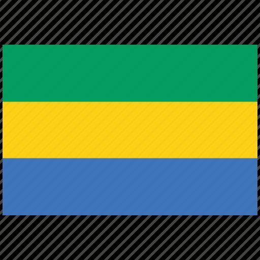flag of gabon, gabon, gabon's flag, gabon's square flag icon