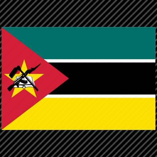 flag of mozambique, mozambique, mozambique's flag, mozambique's square flag icon