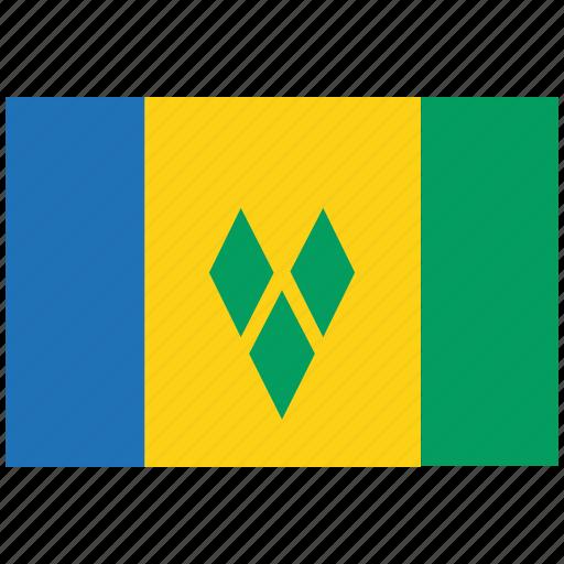 flag of st vincent, st vincent, st vincent's flag, st vincent's square flag icon