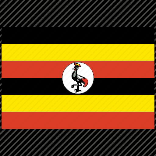 flag of uganda, uganda, uganda's flag, uganda's square flag icon