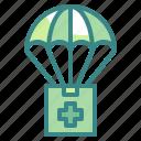 airdrop, humanitarian, parachute, aid, shipment