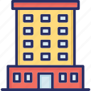 business centre building, trade centre, business apartments, office building, skyline icon