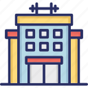 exercise room, fitness club, gym building, gym center, health club icon