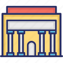 architecture, city building, infrastructure, police department, police station building icon