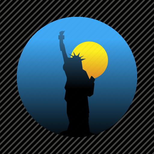 freedom, landmarks, new york, statue of liberty icon