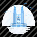 architecture, landmark, monument, petronas, towers icon