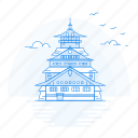 architecture, castle, landmark, monument, osaka icon
