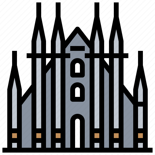 architecture, buildings, cathedral, city, landmark, milan, monuments icon