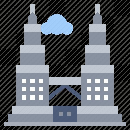 architecture, buildings, city, landmark, monuments, petronas, towers icon