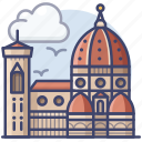 cathedral, florence, italy, landmark icon