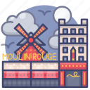 landmark, moulin, paris, rouge