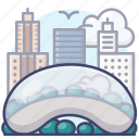 cloud, chicago, landmark, gate icon